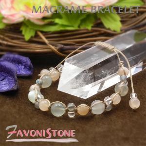 天然石 ブレスレット ムーンストーン オレンジムーンストーン ラブラドライト 水晶 パワーストーン 編み込みブレスレット|favonistone