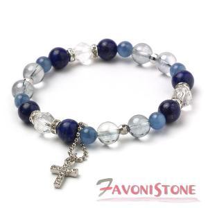 天然石 ブレスレット ラピスラズリ カイヤナイト 水晶 オーラクォーツ 天然石 パワーストーン ブレスレット|favonistone