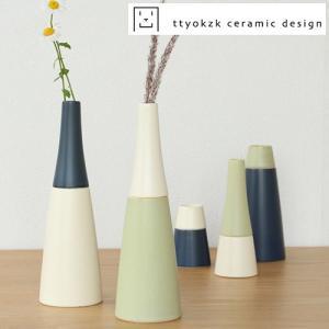 タツヤオカザキ セラミックデザイン 一輪挿し combi トップM+ボトムM ttyokzk 小さい 花瓶 フラワーベース 日本製 プレゼント|favoritestyle