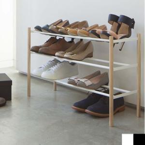 伸縮シューズラック 3段 靴ラック 玄関 収納 PLAIN プレーン 山崎実業 伸縮 シューズラック 靴 収納 03518 03519|favoritestyle