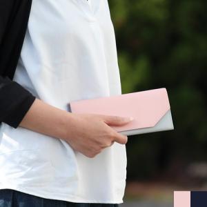 長財布 レディース 薄い 本革 日本製 かぶせ 財布 革 軽い財布 軽量 バイカラー 使いやすい 二つ折り 財布 ギフト|favoritestyle