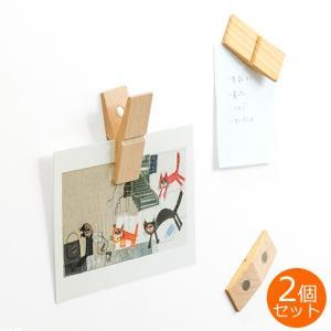 CLIP CLAP クリップ クラップ 木製 ウッドクリップ マグネット メモスタンド メモクリップ カードスタンド ピンチ PINCH 写真 2個セット|favoritestyle