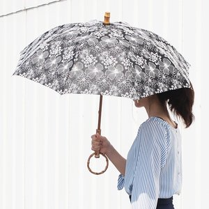 【取扱終了】シュールメール 日傘 SUR MER レース 刺繍 花柄 ホワイト コットン 竹輪っか 長傘 折りたたみ傘 日本製 UVカット 紫外線防止|favoritestyle