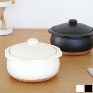 土鍋 1人用 18cm ココット鍋 陶器 花ココット カネフサ製陶 雑炊鍋 ごはん鍋 日本製 信楽焼 オーブン 蓋付き おしゃれ|favoritestyle