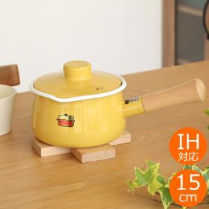 富士ホーロー ミルクパン 15cm ハニーウェア ソリッド IH対応 蓋付き Honey Ware Solid ホーロー 琺瑯 片手鍋|favoritestyle