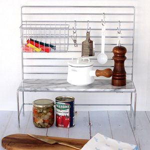 マーブルハンギングキッチンラック マーブルトップ 天然大理石 キッチン収納 調味料ラック 棚 コンロ周り ASPLUND アスプルンド|favoritestyle