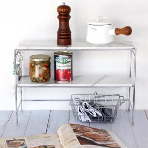 マーブル2tierキッチンラック マーブルトップ 天然大理石 キッチン収納 調味料ラック 棚 コンロ周り 2段 ASPLUND アスプルンド|favoritestyle