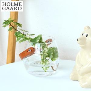 ホルムガード Design With Light ポット クリア H10cm ガラスポット レザーハンドル 革 花瓶 フラワーベース 北欧