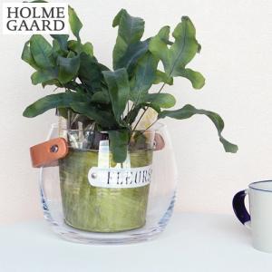 ホルムガード フラワーベース 花瓶 おしゃれ ポット クリア ガラス 丸 H12cm ガラスポット レザーハンドル 革 北欧 HOLMEGAARD|favoritestyle