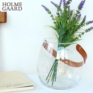 ホルムガード フラワーベース 花瓶 おしゃれ ポット クリア ガラス 丸 H16cm ガラスポット レザーハンドル 革 北欧 HOLMEGAARD|favoritestyle