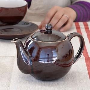 PORCELAIN ポーセリン ティーポット 茶こし付き ポット 2カップ 日本製 陶器 ブラウン 飴色 400ml A6413|favoritestyle