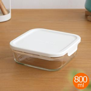 [クーポン配布中] iwaki イワキ パック&レンジ BOX 小 ホワイト 800ml 角型 保存容器 耐熱ガラス 耐熱容器 PACK&RANGE CYY3247-W|favoritestyle