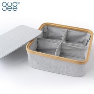 GudeeLife 収納ボックス 仕切りボックス 4分割 ふた付き 仕切りケース おしゃれ 折り畳み KIM Storage box with lid 4section 収納カゴ 収納 布 竹|favoritestyle