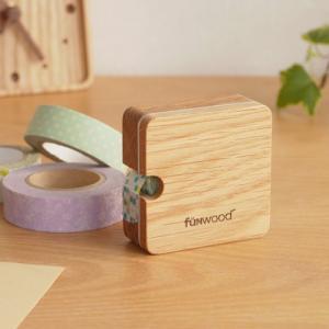 [クーポン配布中] マスキングテープホルダー 木製 おしゃれ 収納 ケース mtホルダー 木 角型 アルミライン オーク おしゃれ文具 ナチュラル funwood|favoritestyle