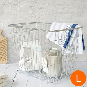 とみおかクリーニング 洗濯かご オリジナルワイヤーバスケット L バスケット ランドリーバスケット 収納 洗濯 ギフト 日用品 ランドリー|favoritestyle