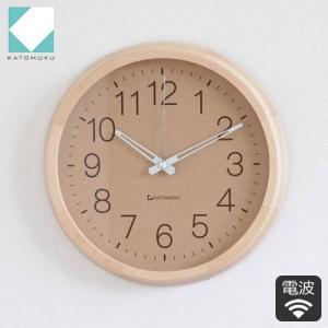 掛け時計 木製 日本製 加藤木工 KATOMOKU カトモク 電波時計 連続秒針 muku round wall clock ナチュラル KM-45NRC|favoritestyle
