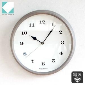 壁掛け時計 電波時計 木製 日本製 加藤木工 KATOMOKU カトモク 連続秒針 muku round wall clock 3 グレー 曲木時計 KM-54GRC|favoritestyle