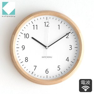 壁掛け時計 電波時計 木製 日本製 加藤木工 KATOMOKU カトモク 連続秒針 muku round wall clock 4 曲木時計 KM-57NRC|favoritestyle