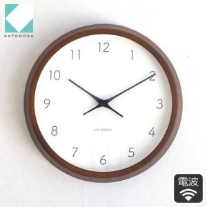 壁掛け時計 電波時計 木製 日本製 加藤木工 KATOMOKU カトモク 連続秒針 曲木時計 muku round wall clock 7 ブラウン KM-60BRC|favoritestyle