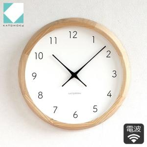 壁掛け時計 電波時計 木製 日本製 加藤木工 KATOMOKU カトモク muku round wall clock 7 曲木時計 KM-60NRC|favoritestyle