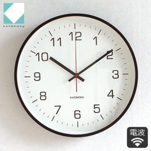 壁掛け時計 電波時計 木製 日本製 加藤木工 KATOMOKU カトモク 連続秒針 plywood wall clock 4 L ブラウン 曲木時計 KM-61BRC|favoritestyle