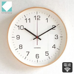 壁掛け時計 電波時計 木製 日本製 加藤木工 KATOMOKU カトモク 連続秒針 plywood wall clock 4 L ナチュラル 曲木時計 KM-61NRC|favoritestyle