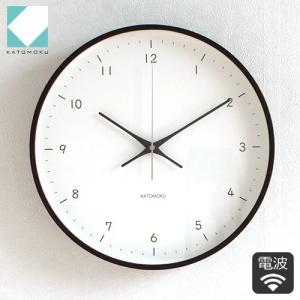 壁掛け時計 電波時計 木製 日本製 加藤木工 KATOMOKU カトモク 連続秒針 plywood wall clock 12 ブラウン 曲木時計 KM-80BRC|favoritestyle