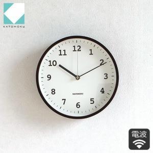 壁掛け時計 電波時計 木製 日本製 加藤木工 KATOMOKU カトモク 連続秒針 plywood wall clock 13 ブラウン 曲木時計 KM-84BRC|favoritestyle