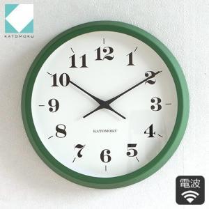 壁掛け時計 電波時計 木製 日本製 加藤木工 KATOMOKU カトモク muku round wall clock 12 グリーン KM-97GRC|favoritestyle