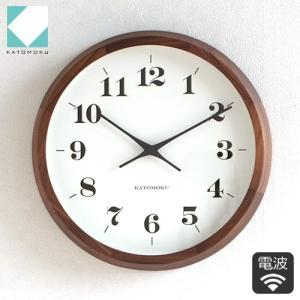 壁掛け時計 電波時計 木製 日本製 加藤木工 KATOMOKU カトモク muku round wall clock 12 ウォールナット KM-98BRC|favoritestyle