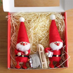[50セット限定 BOX付] ノルディカニッセ 2体セット そりを引いたサンタ × プレゼントを持ったサンタ NORDIKA nisse クリスマス 木製人形 北欧|favoritestyle