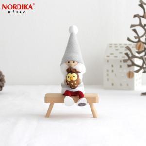 ノルディカニッセ フクロウを抱えたサンタ サイレントナイトシリーズ NORDIKA nisse クリスマス 雑貨 木製 人形 北欧 NRD120610|favoritestyle