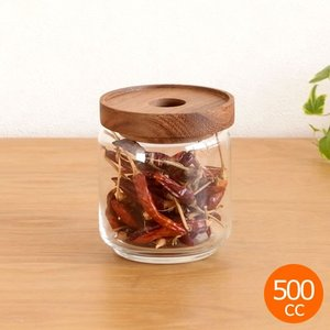 CHABATREE チャバツリー ガラスジャー コロン 500cc 保存ビン ガラス製 天然木 保存容器 シリコンパッキン付 キャニスター スタッキング|favoritestyle