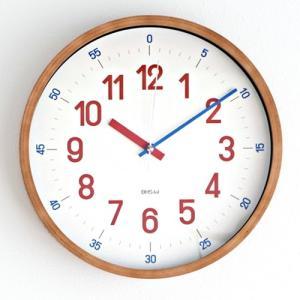 知育時計 掛け時計 木製 バウハウス 復刻フォント レッド REROSS QUADRATIC 知育クロック 壁掛け時計 連続秒針 子供部屋 WCL-001|favoritestyle