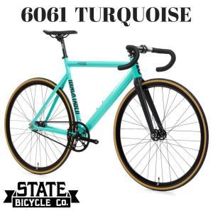 ピストバイク 完成車 STATE BICYCLE ステイト バイシクル 6061 BLACK LABEL V2 TURQUOISE ブラックレーベル ターコイズ ブルー 自転車 アルミ フレーム ブランド|favus