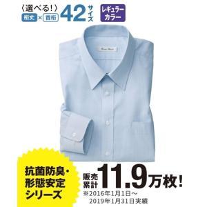ビジネス 長袖ワイシャツ メンズ S/M/Lサイズ レギュラーカラー ブルー 抗菌防臭・形態安定長袖ワイシャツ(標準シルエット) ニッセン|faz-store
