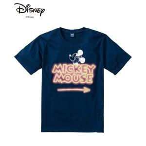 ディズニー(DISNEY) 半袖Tシャツ 大きいサイズ メンズ M-5L ロゴ入りミッキー蛍光プリン...
