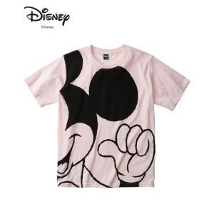 ディズニー(DISNEY) 半袖Tシャツ メンズ M-LL ミッキービッグプリント半袖Tシャツ(顔部...
