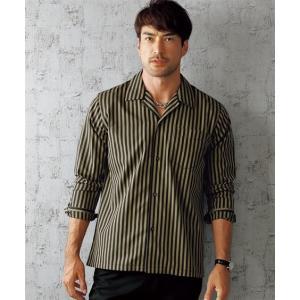 大きいサイズ メンズ 長袖シャツ M-10L ストライプ柄開襟長袖シャツ ジャケットやブルゾンのインナーにしても素敵 ニッセン faz-store