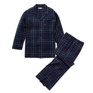 パジャマ上下セット メンズ M-3L なめらかな肌触りで着心地の良い スムース格子柄 前開きパジャマ...