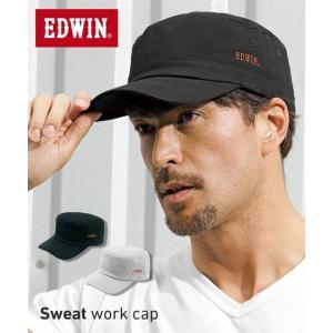エドウイン(EDWIN) スウェットワークキャップ メンズ 額や頭に汗をかいてもやさしく包み込むスウェット素材のキャップ 日焼け対策バッチリ! 帽子|faz-store