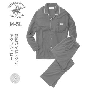 ビバリーヒルズポロクラブ(BHPC)配色パイピング天竺長袖前開きパジャマ メンズ M-5L 大きいサイズ メンズ ルームウェア 部屋着 ニッセン|faz-store