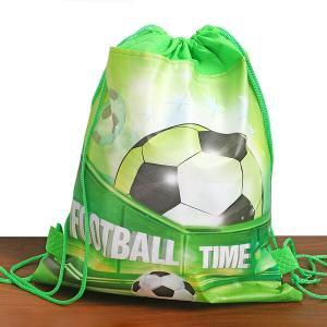 サッカーボール柄のきみどり色のミニ巾着袋