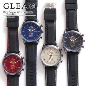GLEAM クロノグラフ調 腕時計 メンズ シリコン シンプ...