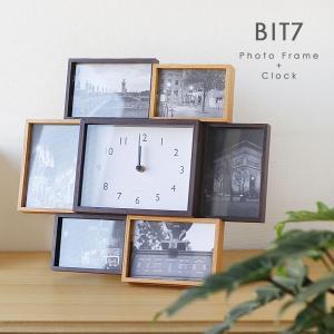 BIT7・ビット7 フォトフレーム&クロック(magnet シンプル ナチュラル 木製風 ウッド 大きい 卓上 壁掛け)|fci