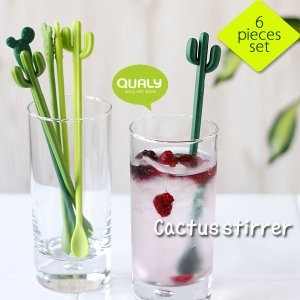 QUALY Cactus stirrer クオリー カクタス スターラー(ドリンク ミニスプーン クリームソーダ パフェ カフェスプーン ハシラサボテン ウチワサボテン) fci