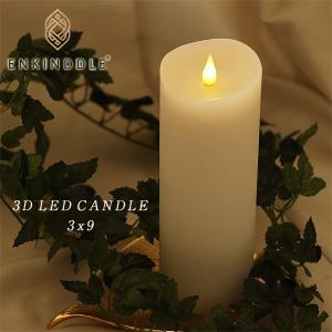3D LED キャンドル エンキンドルラスティックピラー3x9 ホワイト(キャンドルライト 結婚式 ギフト ナイトライト インテリアライト) fci
