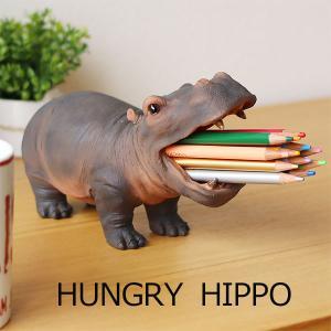 HUNGRY HIPPO ハングリーヒポ  ブラウン(ペン立て 小物入れ 歯ブラシスタンド オブジェ かば )|fci