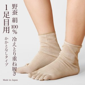 nukunuku 冷えとり靴下 冷え取り ワイルドシルク 5本指靴下 かかとなし 1足目用 靴下 くつした ソックス 野蚕絹 絹 シルク 日本製 可愛|fdsdaigo