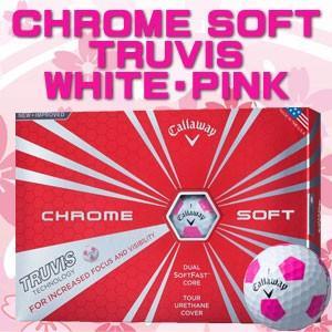 キャロウェイ CHROME SOFT(クロム ソフト) TRUVIS(トゥルービズ) ≪WHITE/PINK≫ ボール (12球) 【数量限定品】|feap
